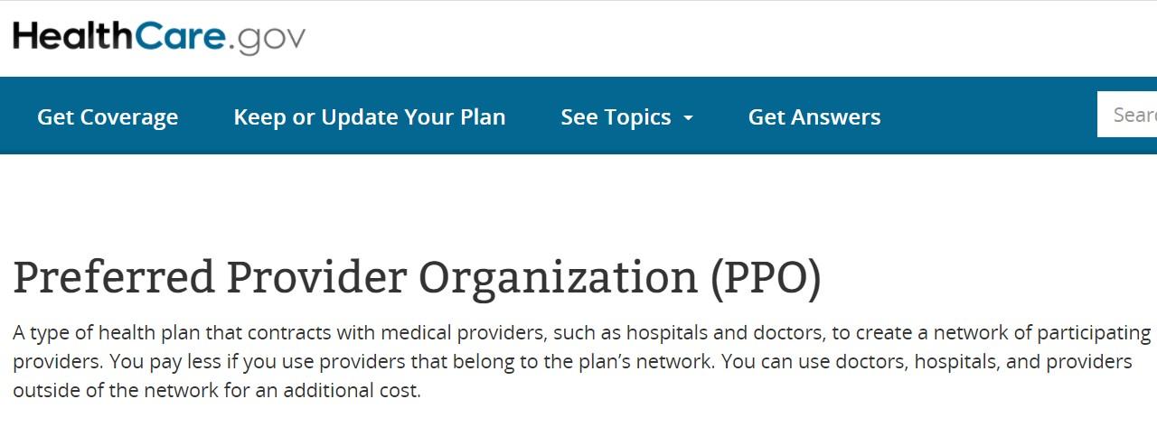 Preferred Provide Organization (PPO)