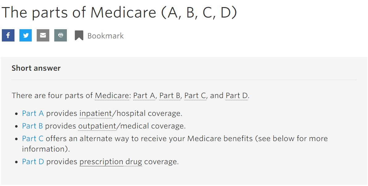 The Parts of Medicare (A,B,C and D)