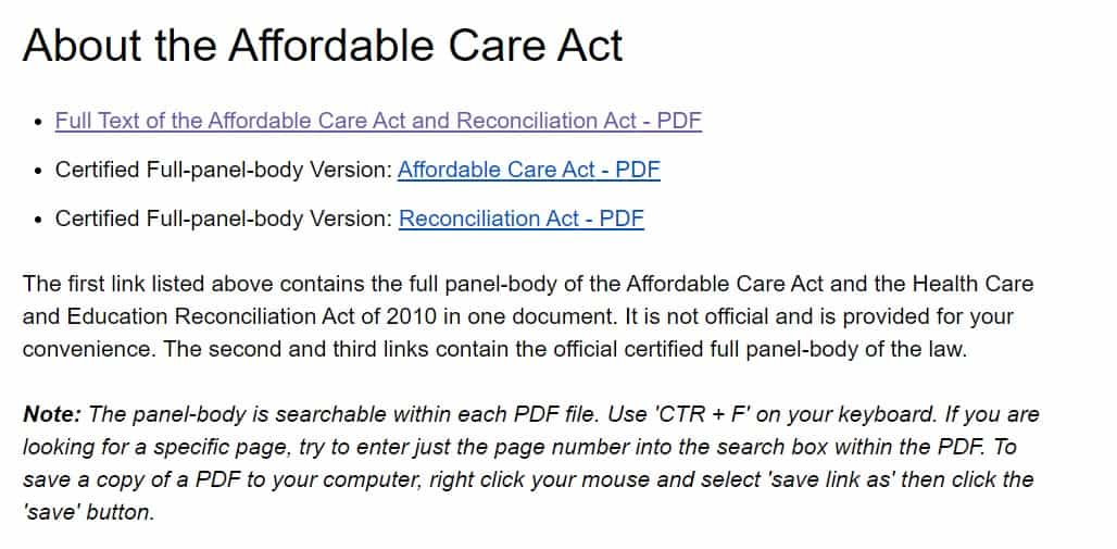 About the Affordable Care Act