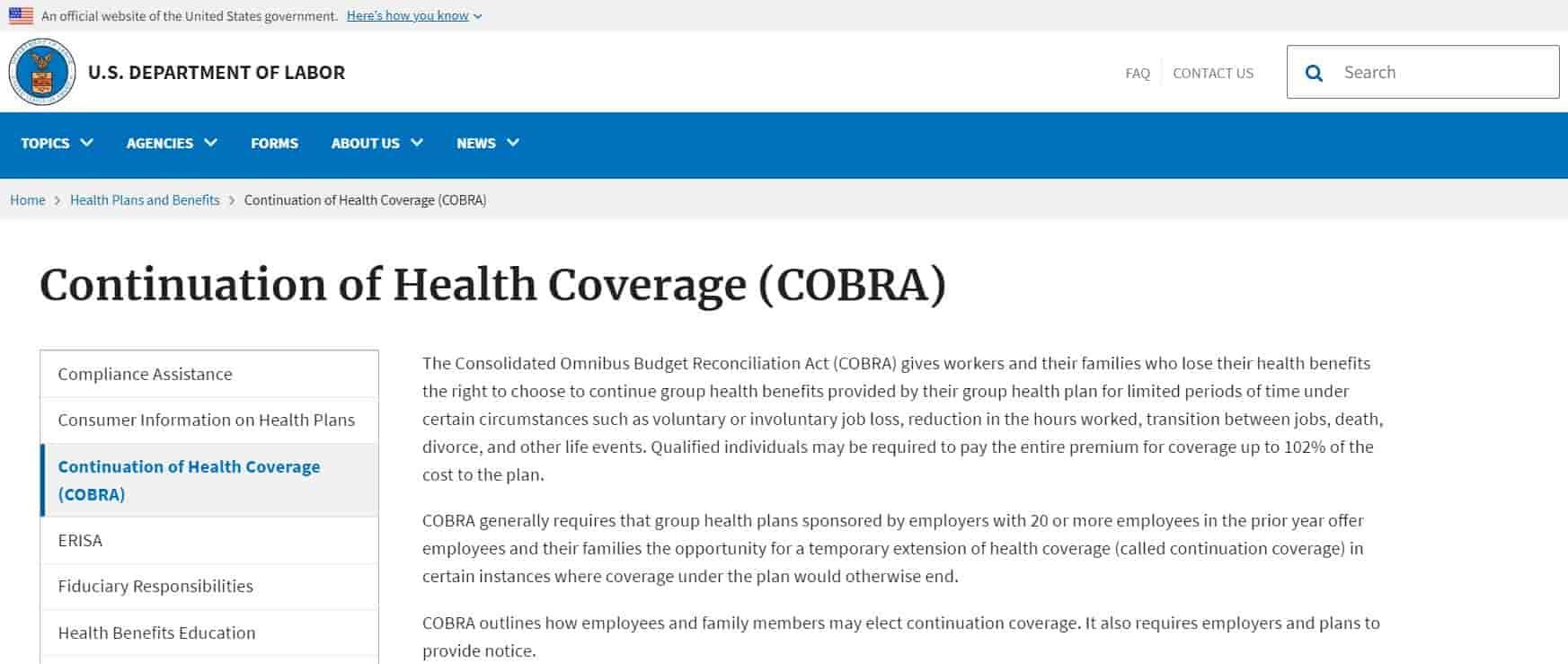 Continuation of Health Coverage (COBRA)