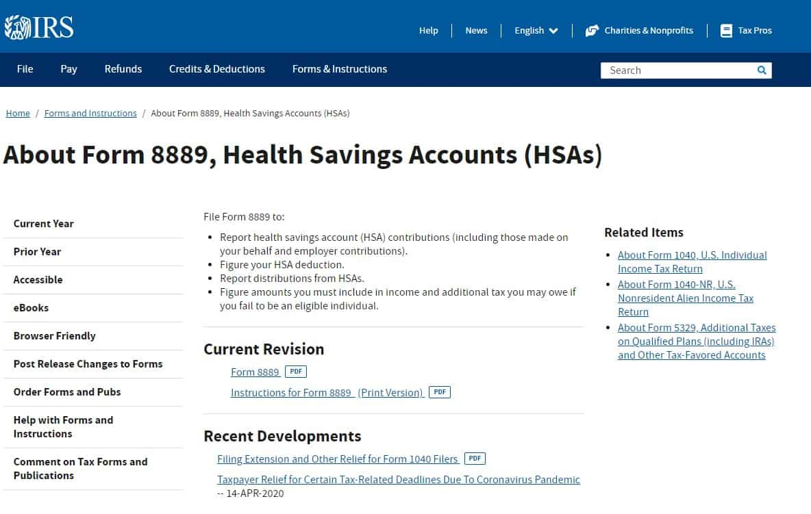 HSA Contribution Limits 2021 - About Form 8889, Health Saving Account (HSA)