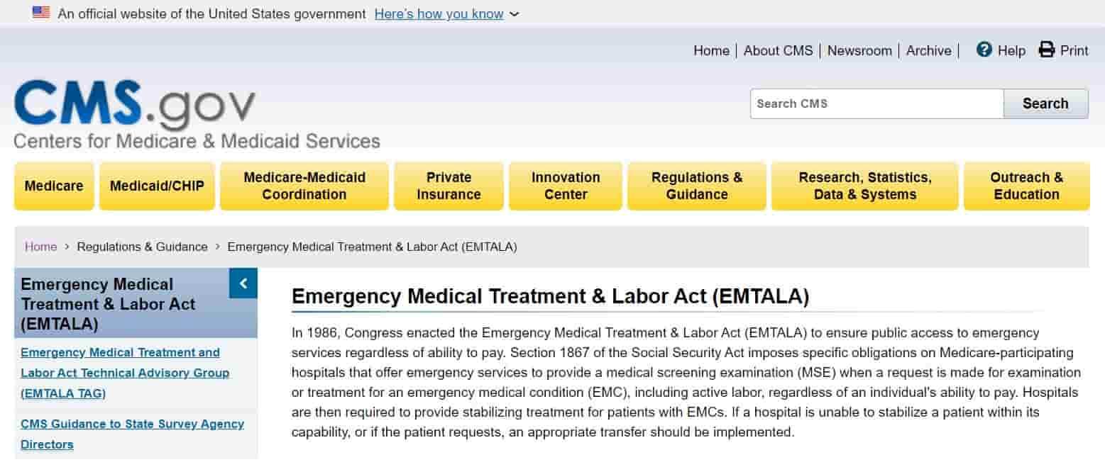 Hospital Emergency without Insurance - Emergency Medical Treatment & Labor Act (EMTALA)