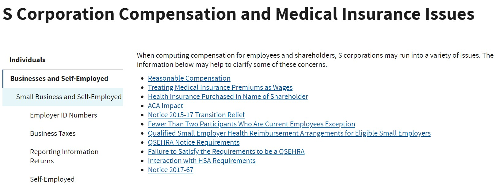 S Corporation Compensation and Medical Insurance Issues