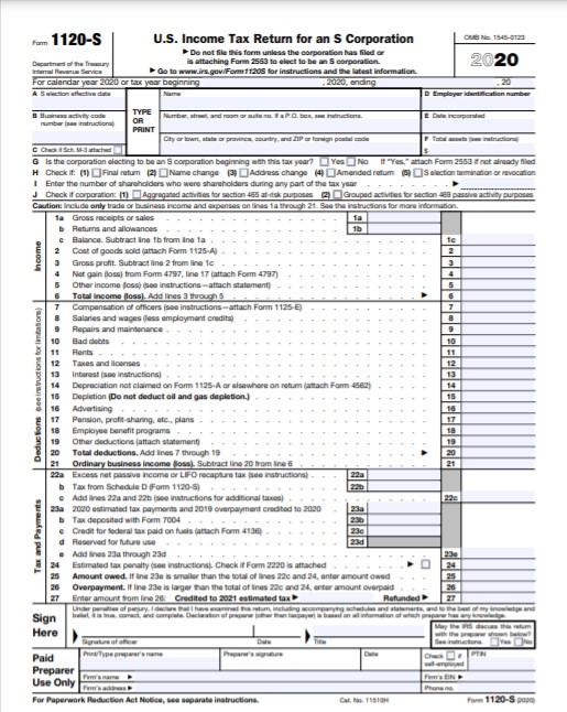 US Income Tax Return for an S Corporation