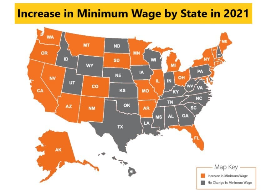 Increase in Minimum Wage by State in 2021