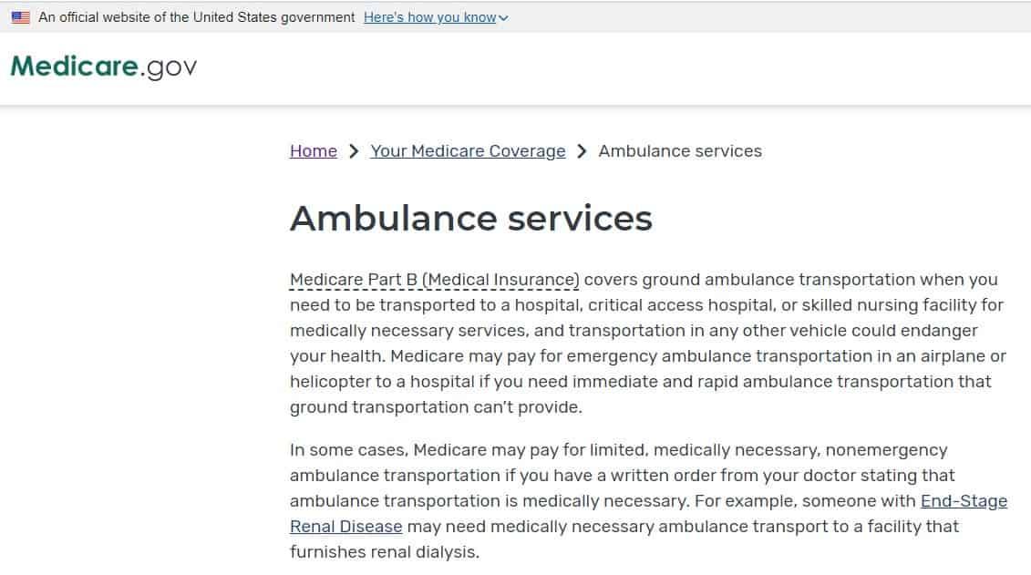 Medicare Ambulance Service