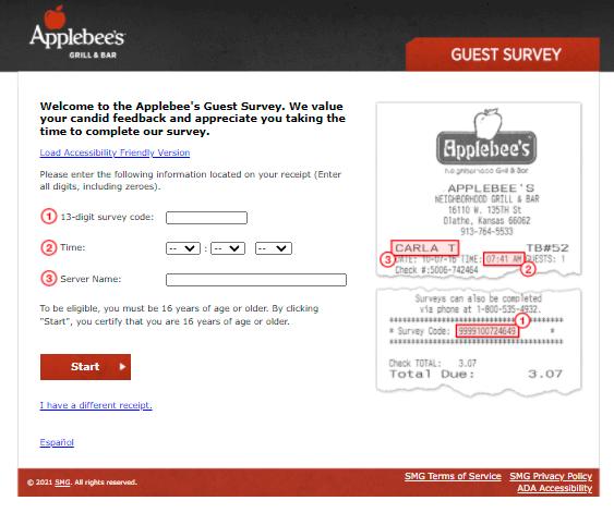 TalkToApplebees-Survey-Homepage-At-www.talktoapplebees.com